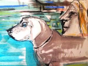 MY DOG 2018, Mischtechnik auf Pappel, 33x23cm